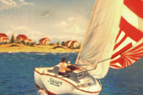 Mural of a nautical scene with a sailboat